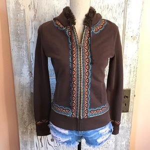 Lucky Brand Embroidered Zip-Up Hoodie Sweater